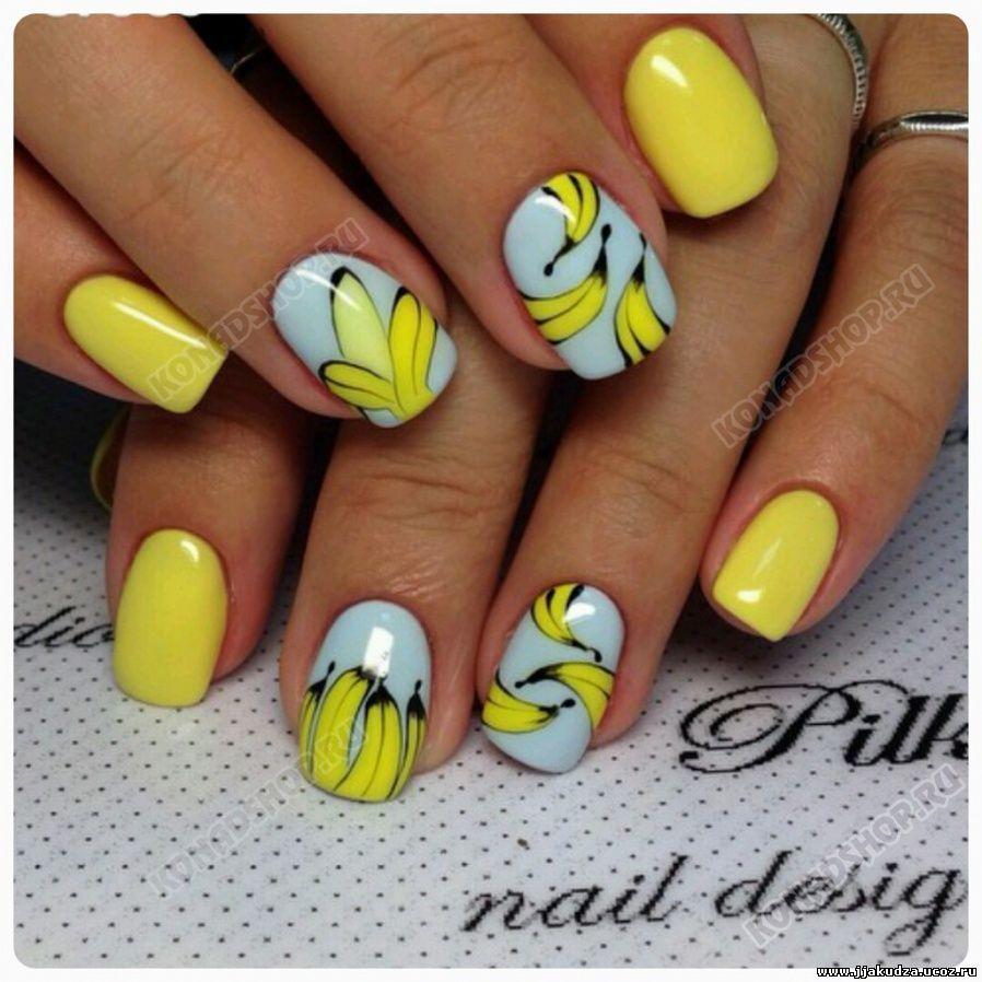 Банановый дизайн ногтей